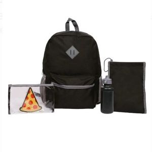 5 piece Back to School Black Backpack Set NWT